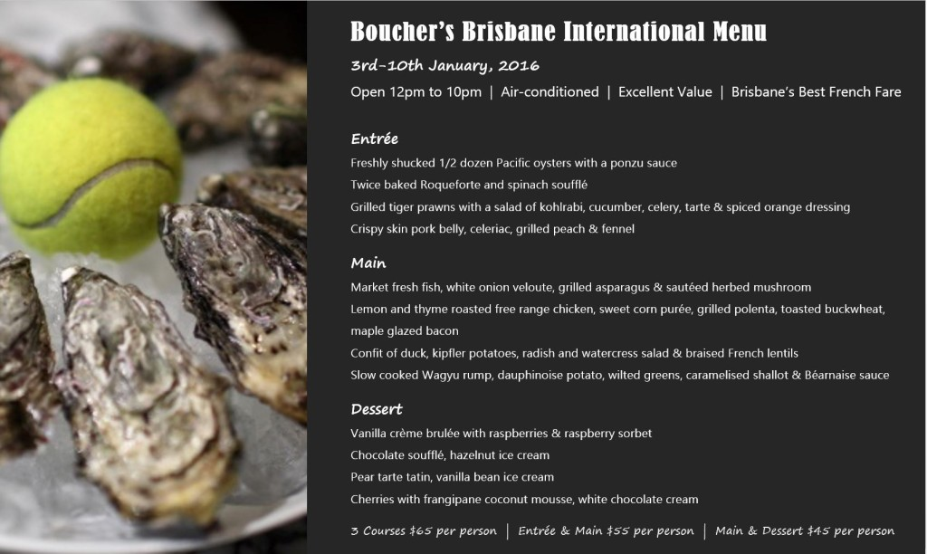 Boucher- Brisbane International Tennis Menu