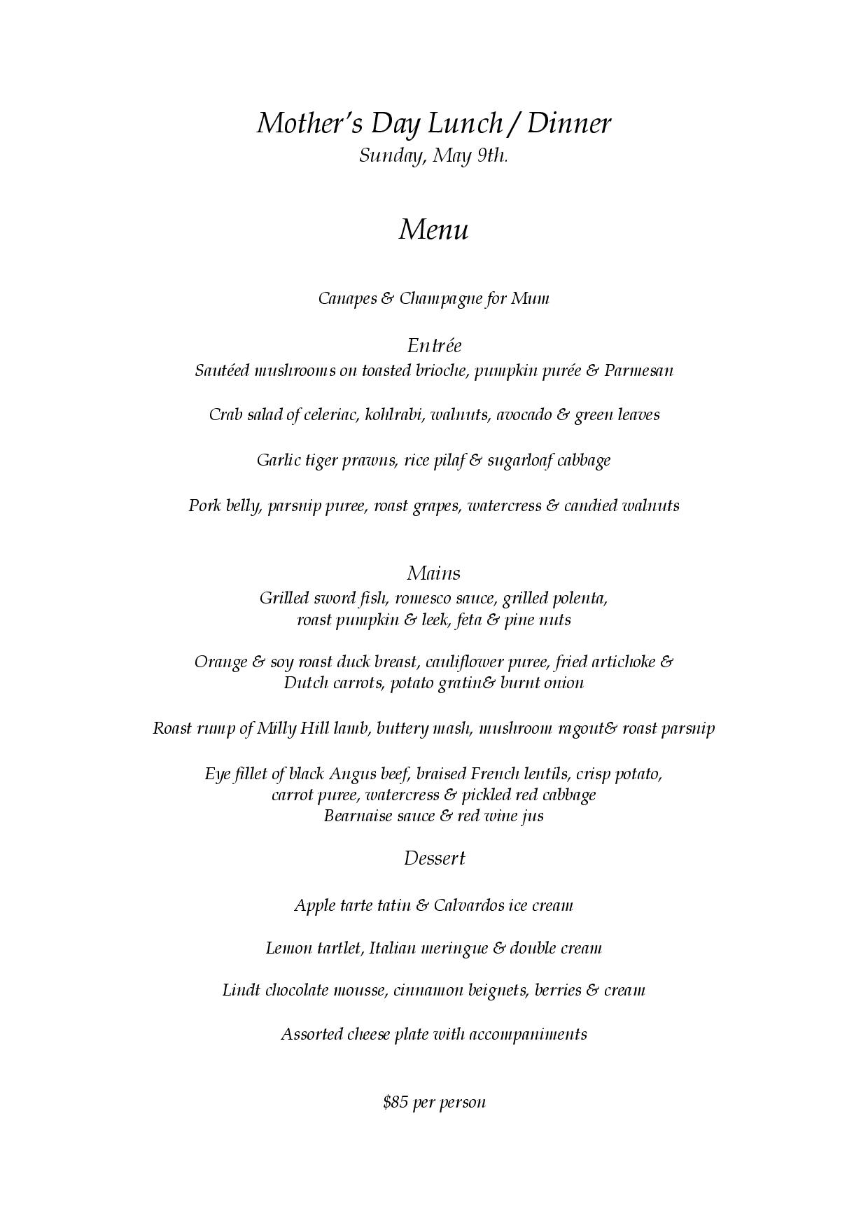 Mother's Day Lunch & Dinner menu